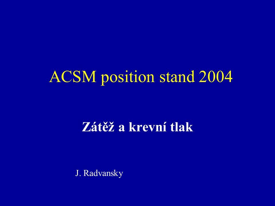 ACSM position stand 2004 Zátěž a krevní tlak J. Radvansky