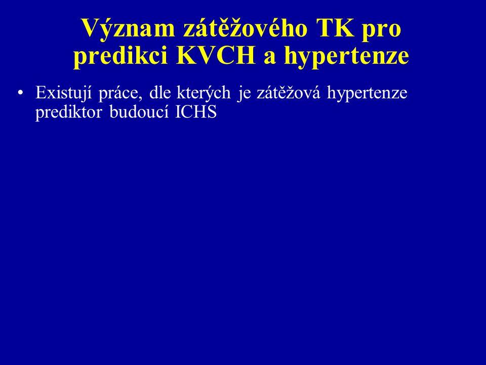 Význam zátěžového TK pro predikci KVCH a hypertenze Existují práce, dle kterých je zátěžová hypertenze prediktor budoucí ICHS