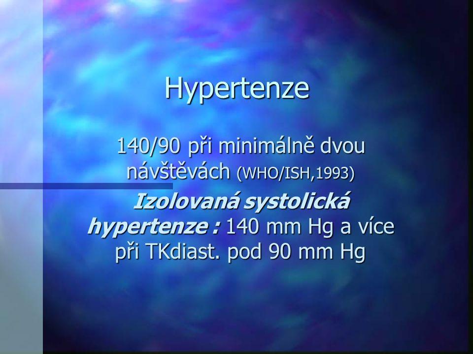 Hypertenze 140/90 při minimálně dvou návštěvách (WHO/ISH,1993) Izolovaná systolická hypertenze : 140 mm Hg a více při TKdiast. pod 90 mm Hg