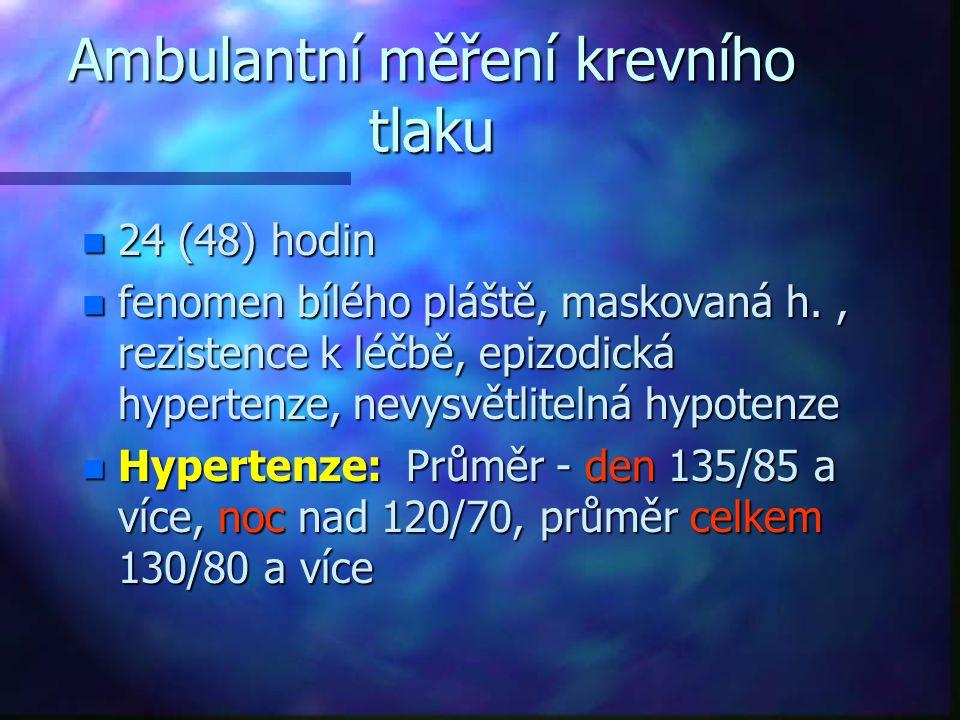 Ambulantní měření krevního tlaku n 24 (48) hodin n fenomen bílého pláště, maskovaná h., rezistence k léčbě, epizodická hypertenze, nevysvětlitelná hyp