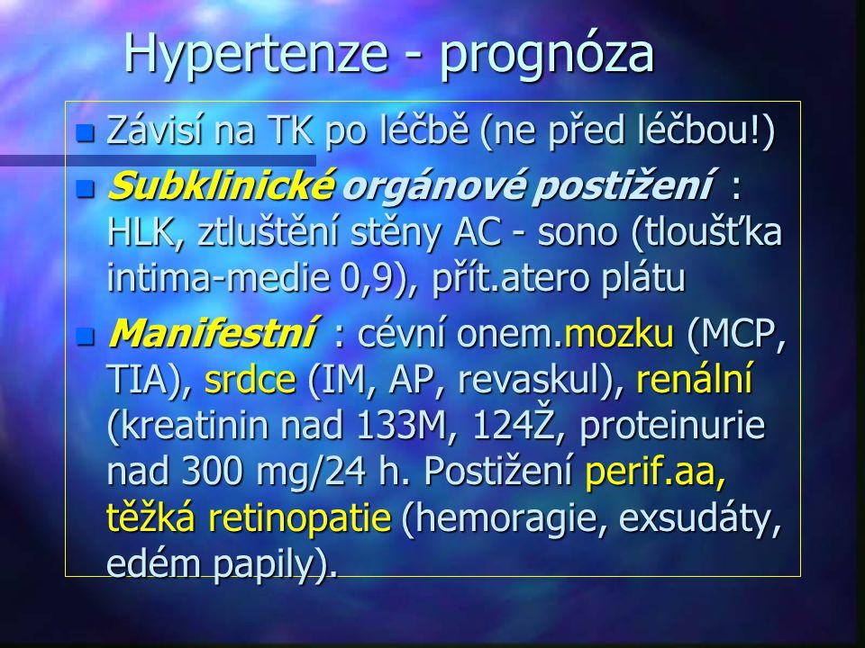 Hypertenze - prognóza n Závisí na TK po léčbě (ne před léčbou!) n Subklinické orgánové postižení : HLK, ztluštění stěny AC - sono (tloušťka intima-med