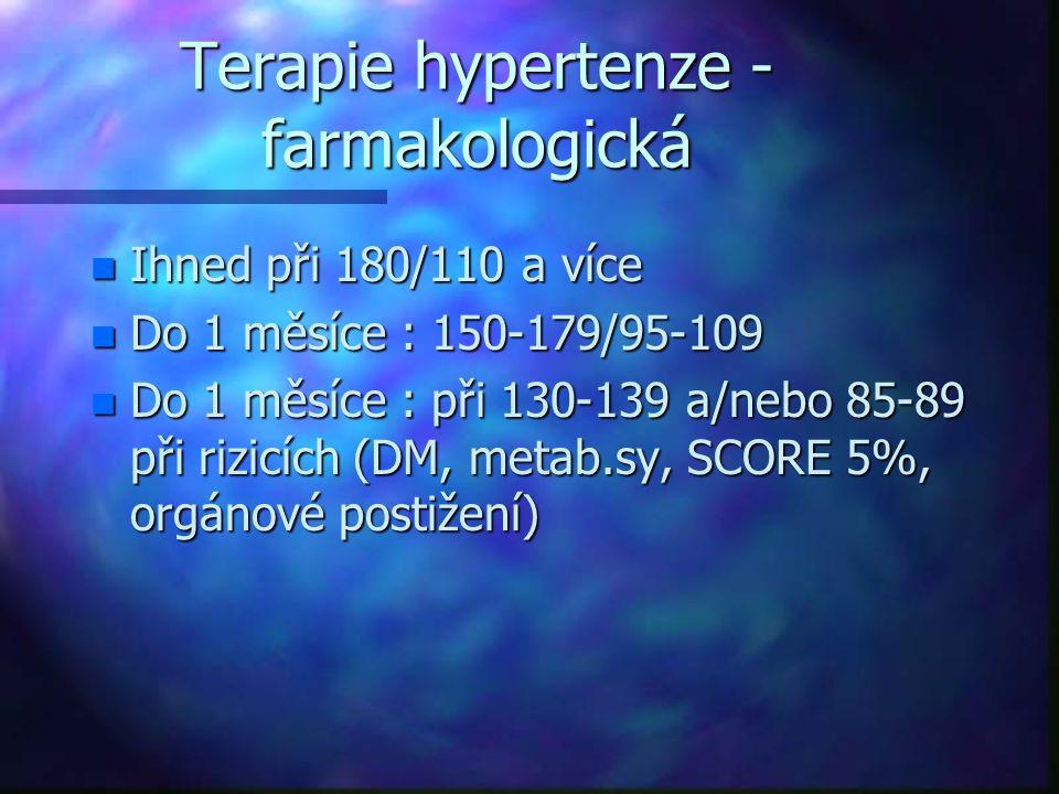Terapie hypertenze - farmakologická n Ihned při 180/110 a více n Do 1 měsíce : 150-179/95-109 n Do 1 měsíce : při 130-139 a/nebo 85-89 při rizicích (D