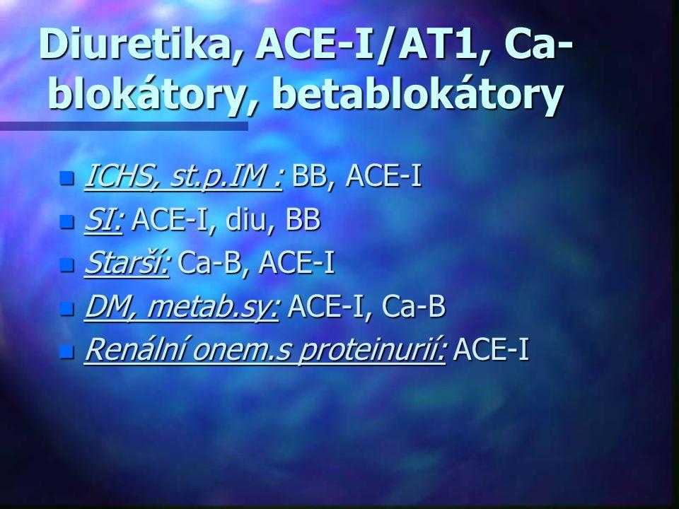 Diuretika, ACE-I/AT1, Ca- blokátory, betablokátory n ICHS, st.p.IM : BB, ACE-I n SI: ACE-I, diu, BB n Starší: Ca-B, ACE-I n DM, metab.sy: ACE-I, Ca-B
