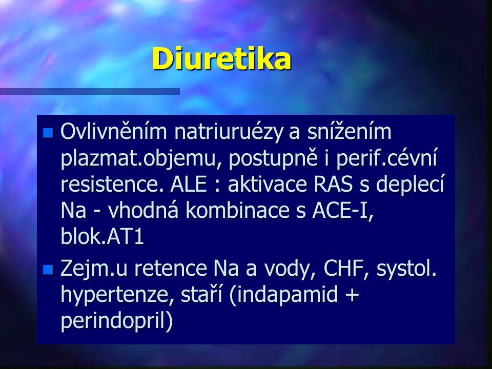 Diuretika n Ovlivněním natriuruézy a snížením plazmat.objemu, postupně i perif.cévní resistence. ALE : aktivace RAS s deplecí Na - vhodná kombinace s