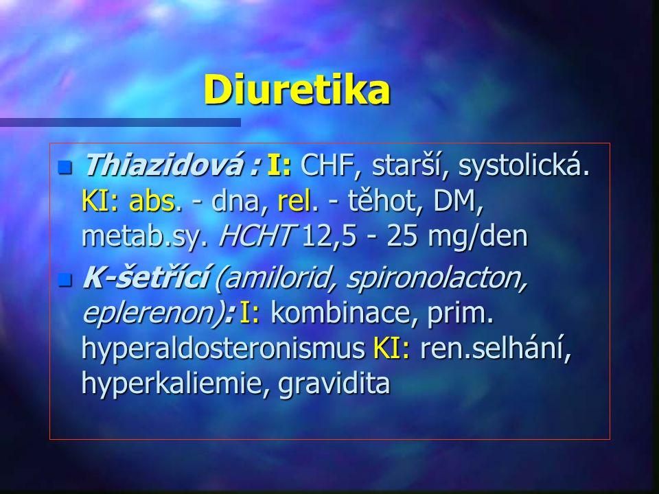 Diuretika n Thiazidová : I: CHF, starší, systolická. KI: abs. - dna, rel. - těhot, DM, metab.sy. HCHT 12,5 - 25 mg/den n K-šetřící (amilorid, spironol