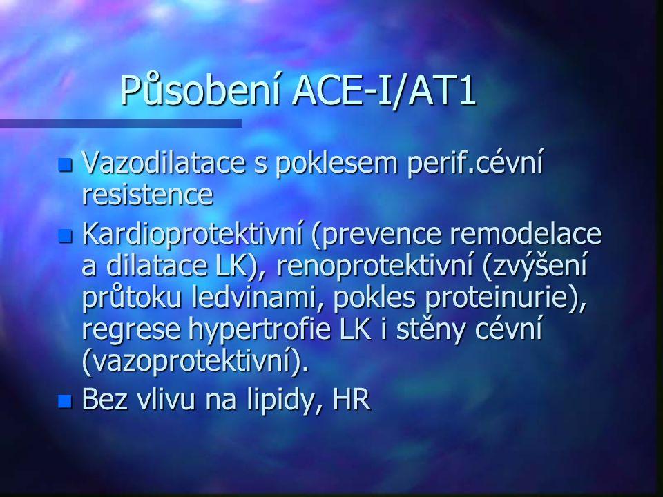 Působení ACE-I/AT1 n Vazodilatace s poklesem perif.cévní resistence n Kardioprotektivní (prevence remodelace a dilatace LK), renoprotektivní (zvýšení