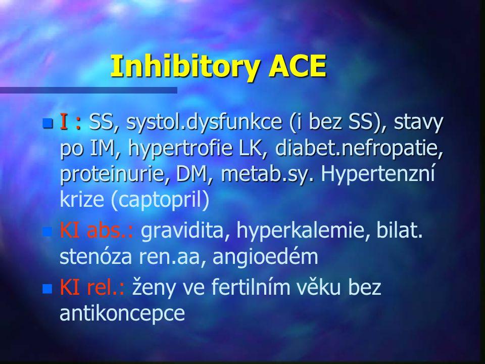 Inhibitory ACE n I : SS, systol.dysfunkce (i bez SS), stavy po IM, hypertrofie LK, diabet.nefropatie, proteinurie, DM, metab.sy. n I : SS, systol.dysf