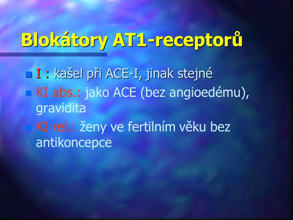 Blokátory AT1-receptorů n I : kašel při ACE-I, jinak stejné n n KI abs.: jako ACE (bez angioedému), gravidita n n KI rel.: ženy ve fertilním věku bez