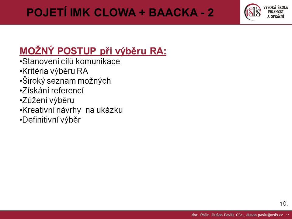 10. doc. PhDr. Dušan Pavlů, CSc., dusan.pavlu@vsfs.cz :: POJETÍ IMK CLOWA + BAACKA - 2 MOŽNÝ POSTUP při výběru RA: Stanovení cílů komunikace Kritéria