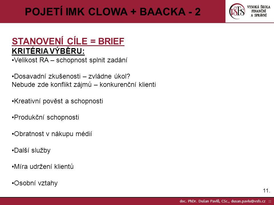 11. doc. PhDr. Dušan Pavlů, CSc., dusan.pavlu@vsfs.cz :: POJETÍ IMK CLOWA + BAACKA - 2 STANOVENÍ CÍLE = BRIEF KRITÉRIA VÝBĚRU: Velikost RA – schopnost