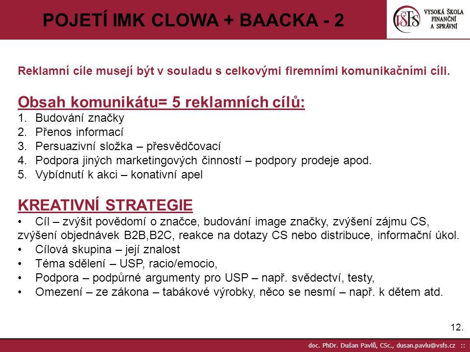 12. doc. PhDr. Dušan Pavlů, CSc., dusan.pavlu@vsfs.cz :: POJETÍ IMK CLOWA + BAACKA - 2 Reklamní cíle musejí být v souladu s celkovými firemními komuni