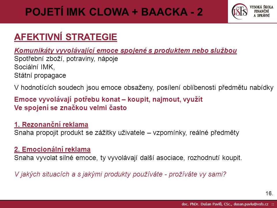 16. doc. PhDr. Dušan Pavlů, CSc., dusan.pavlu@vsfs.cz :: POJETÍ IMK CLOWA + BAACKA - 2 AFEKTIVNÍ STRATEGIE Komunikáty vyvolávající emoce spojené s pro