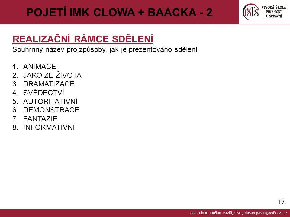 19. doc. PhDr. Dušan Pavlů, CSc., dusan.pavlu@vsfs.cz :: POJETÍ IMK CLOWA + BAACKA - 2 REALIZAČNÍ RÁMCE SDĚLENÍ Souhrnný název pro způsoby, jak je pre