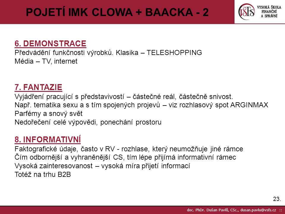 23. doc. PhDr. Dušan Pavlů, CSc., dusan.pavlu@vsfs.cz :: POJETÍ IMK CLOWA + BAACKA - 2 6. DEMONSTRACE Předvádění funkčnosti výrobků. Klasika – TELESHO
