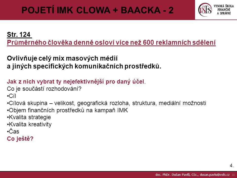 4.4. doc. PhDr. Dušan Pavlů, CSc., dusan.pavlu@vsfs.cz :: POJETÍ IMK CLOWA + BAACKA - 2 Str. 124 Průměrného člověka denně osloví více než 600 reklamní