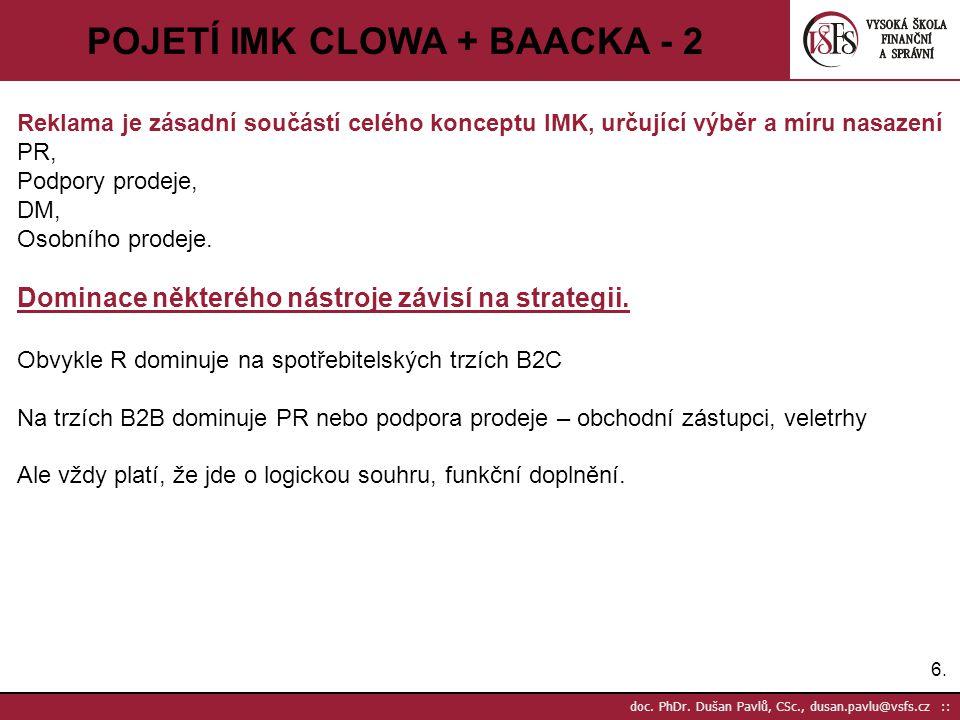 6.6. doc. PhDr. Dušan Pavlů, CSc., dusan.pavlu@vsfs.cz :: POJETÍ IMK CLOWA + BAACKA - 2 Reklama je zásadní součástí celého konceptu IMK, určující výbě