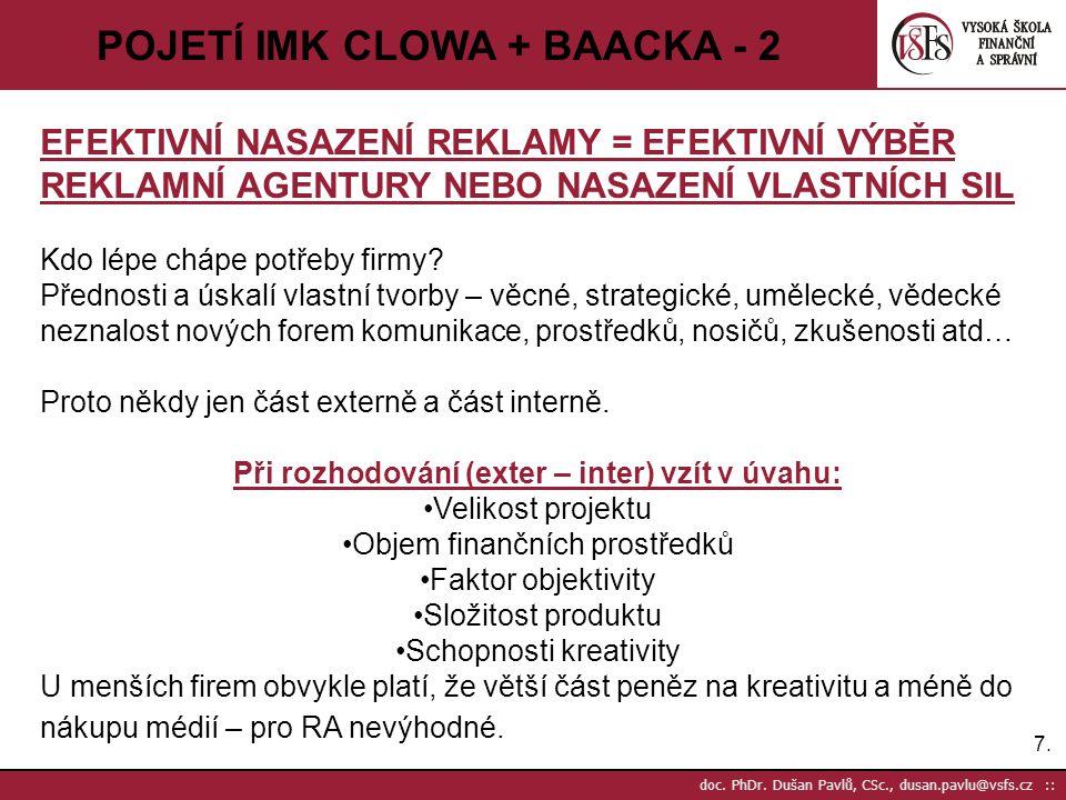 7.7. doc. PhDr. Dušan Pavlů, CSc., dusan.pavlu@vsfs.cz :: POJETÍ IMK CLOWA + BAACKA - 2 EFEKTIVNÍ NASAZENÍ REKLAMY = EFEKTIVNÍ VÝBĚR REKLAMNÍ AGENTURY