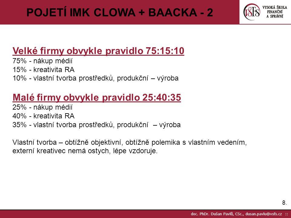 8.8. doc. PhDr. Dušan Pavlů, CSc., dusan.pavlu@vsfs.cz :: POJETÍ IMK CLOWA + BAACKA - 2 Velké firmy obvykle pravidlo 75:15:10 75% - nákup médií 15% -