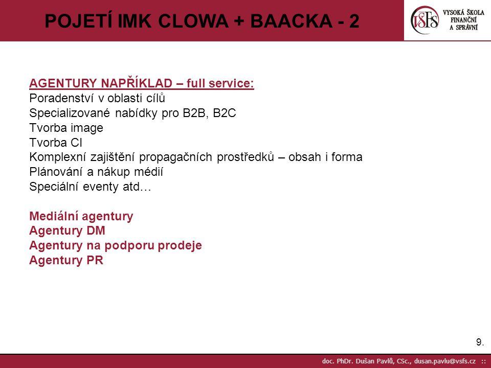 9.9. doc. PhDr. Dušan Pavlů, CSc., dusan.pavlu@vsfs.cz :: POJETÍ IMK CLOWA + BAACKA - 2 AGENTURY NAPŘÍKLAD – full service: Poradenství v oblasti cílů