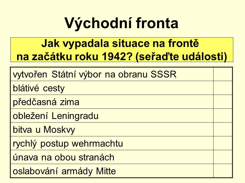 Východní fronta Jak vypadala situace na frontě na začátku roku 1942? (seřaďte události) vytvořen Státní výbor na obranu SSSR blátivé cesty předčasná z