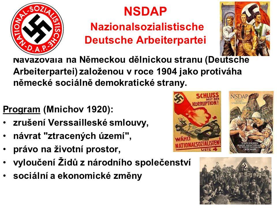 NSDAP Nazionalsozialistische Deutsche Arbeiterpartei Navazovala na Německou dělnickou stranu (Deutsche Arbeiterpartei) založenou v roce 1904 jako prot