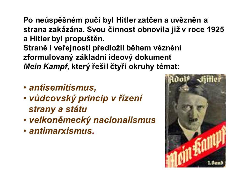 Po neúspěšném puči byl Hitler zatčen a uvězněn a strana zakázána. Svou činnost obnovila již v roce 1925 a Hitler byl propuštěn. Straně i veřejnosti př