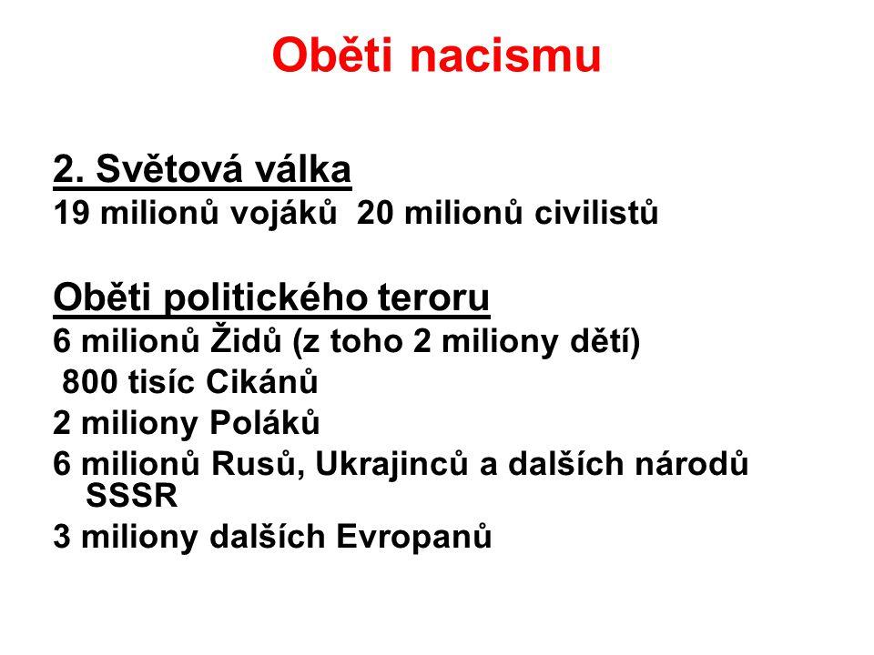 Oběti nacismu 2. Světová válka 19 milionů vojáků 20 milionů civilistů Oběti politického teroru 6 milionů Židů (z toho 2 miliony dětí) 800 tisíc Cikánů