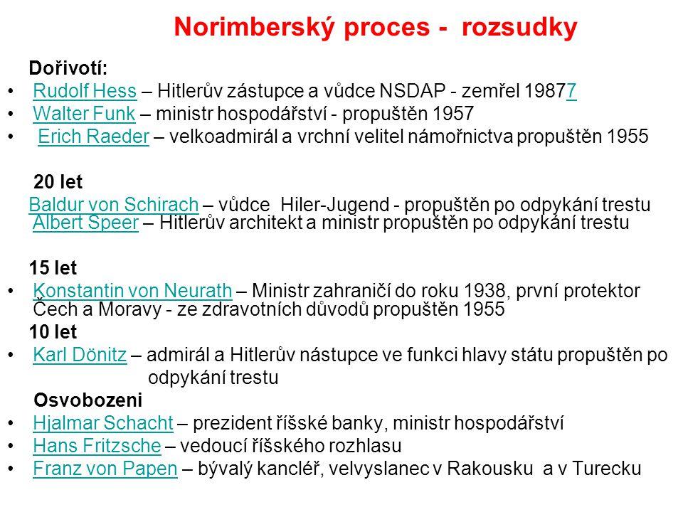 Norimberský proces - rozsudky Dořivotí: Rudolf Hess – Hitlerův zástupce a vůdce NSDAP - zemřel 19877Rudolf Hess7 Walter Funk – ministr hospodářství -