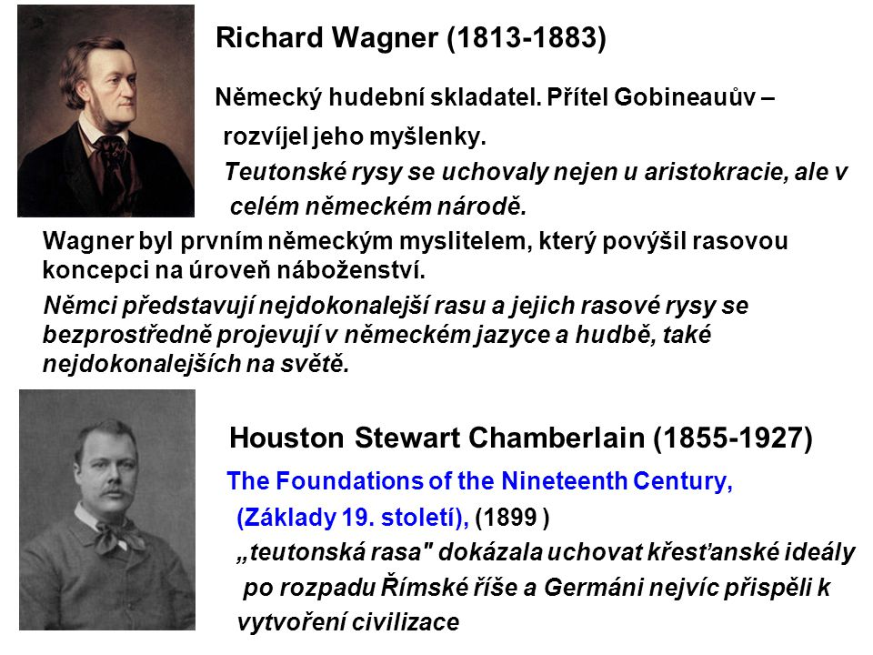 Richard Wagner (1813-1883) Německý hudební skladatel. Přítel Gobineauův – rozvíjel jeho myšlenky. Teutonské rysy se uchovaly nejen u aristokracie, al
