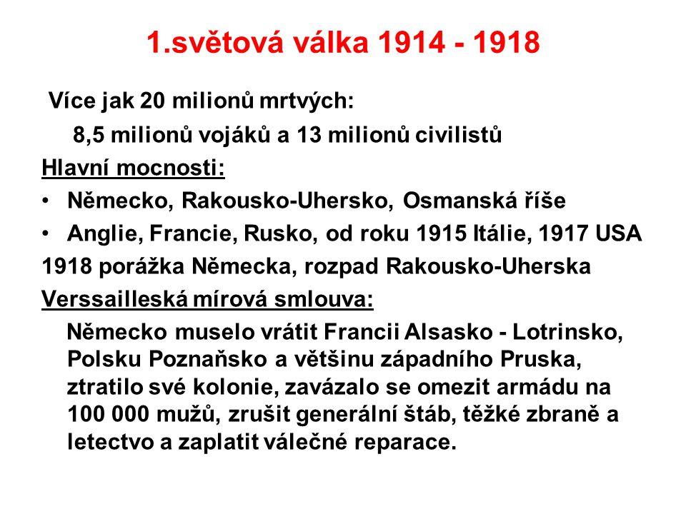 1.světová válka 1914 - 1918 Více jak 20 milionů mrtvých: 8,5 milionů vojáků a 13 milionů civilistů Hlavní mocnosti: Německo, Rakousko-Uhersko, Osmansk