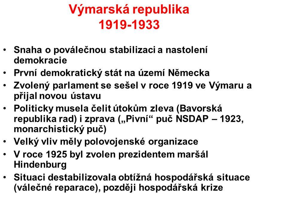 Výmarská republika 1919-1933 Snaha o poválečnou stabilizaci a nastolení demokracie První demokratický stát na území Německa Zvolený parlament se sešel