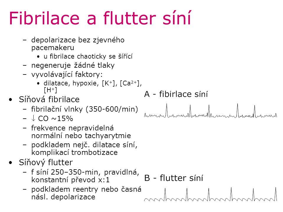 Fibrilace a flutter síní –depolarizace bez zjevného pacemakeru u fibrilace chaoticky se šířící –negeneruje žádné tlaky –vyvolávající faktory: dilatace