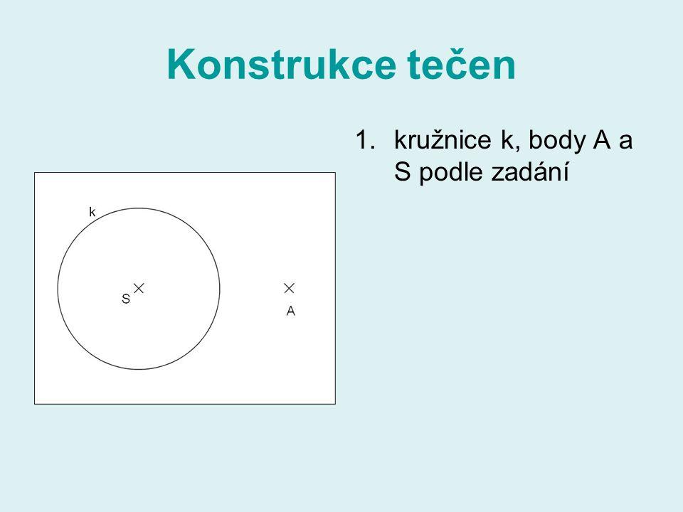 Konstrukce tečen 1.kružnice k, body A a S podle zadání