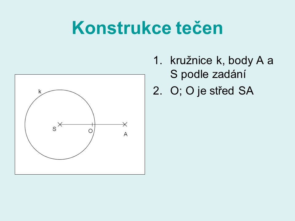 Konstrukce tečen 1.kružnice k, body A a S podle zadání 2.O; O je střed SA