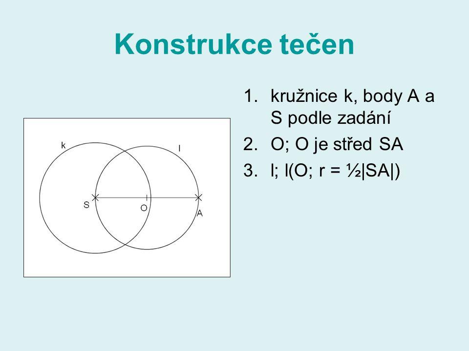 Konstrukce tečen 1.kružnice k, body A a S podle zadání 2.O; O je střed SA 3.l; l(O; r = ½|SA|)