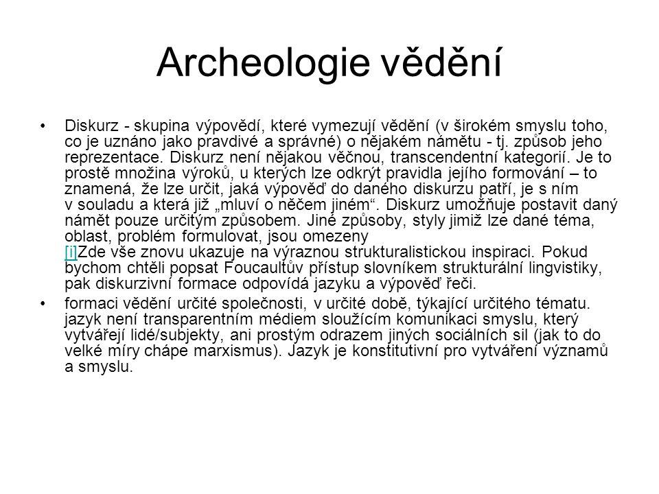 Archeologie vědění Diskurz - skupina výpovědí, které vymezují vědění (v širokém smyslu toho, co je uznáno jako pravdivé a správné) o nějakém námětu -