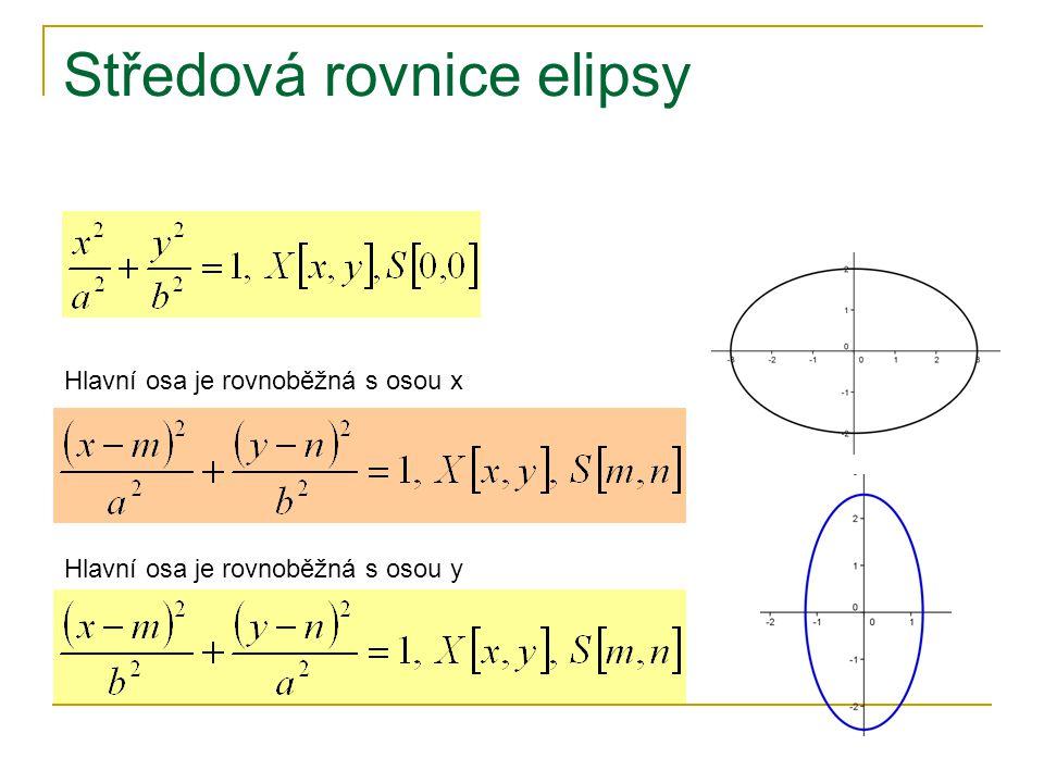 Středová rovnice elipsy Hlavní osa je rovnoběžná s osou x Hlavní osa je rovnoběžná s osou y