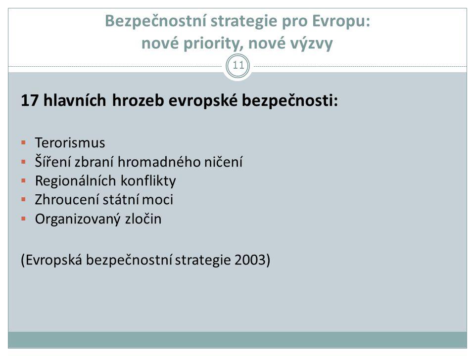 Bezpečnostní strategie pro Evropu: nové priority, nové výzvy 17 hlavních hrozeb evropské bezpečnosti:  Terorismus  Šíření zbraní hromadného ničení  Regionálních konflikty  Zhroucení státní moci  Organizovaný zločin (Evropská bezpečnostní strategie 2003) 11