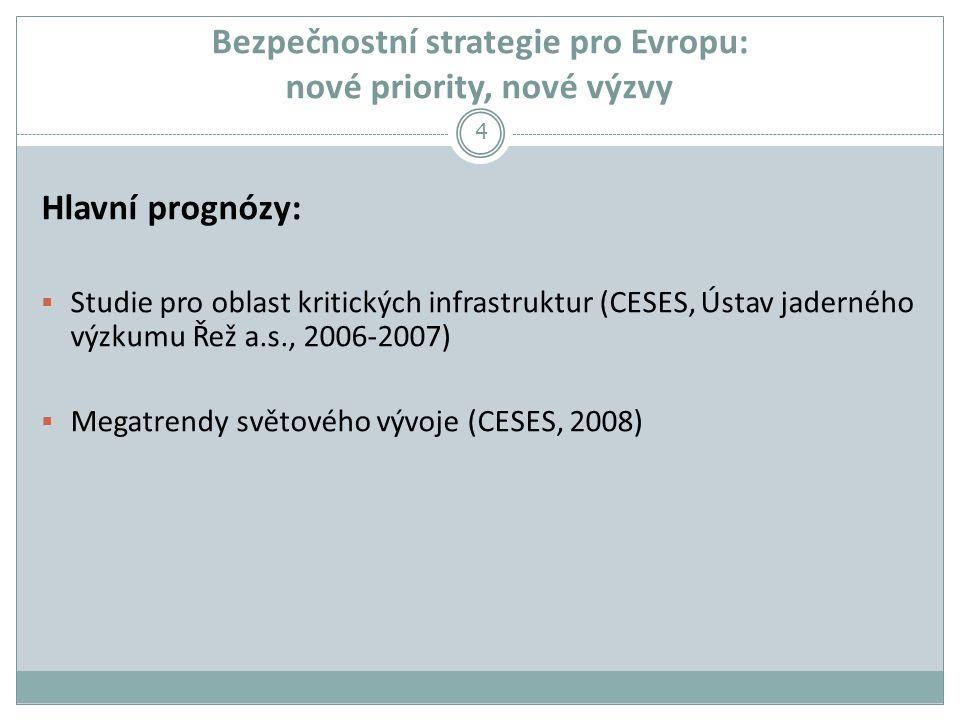 Bezpečnostní strategie pro Evropu: nové priority, nové výzvy Hlavní prognózy:  Studie pro oblast kritických infrastruktur (CESES, Ústav jaderného výzkumu Řež a.s., 2006-2007)  Megatrendy světového vývoje (CESES, 2008) 4