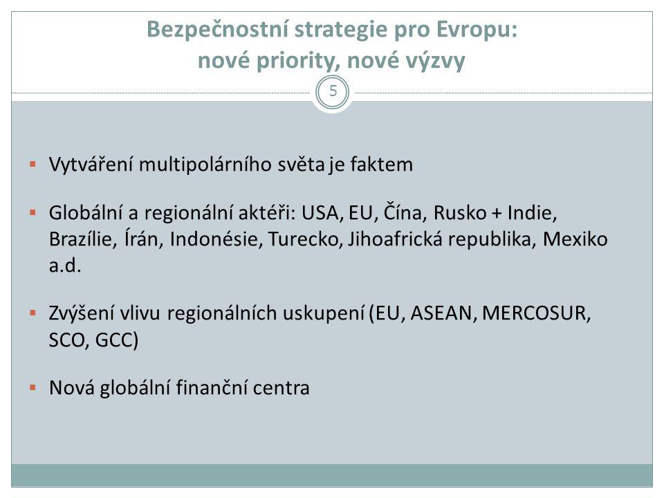 Bezpečnostní strategie pro Evropu: nové priority, nové výzvy  Vytváření multipolárního světa je faktem  Globální a regionální aktéři: USA, EU, Čína, Rusko + Indie, Brazílie, Írán, Indonésie, Turecko, Jihoafrická republika, Mexiko a.d.