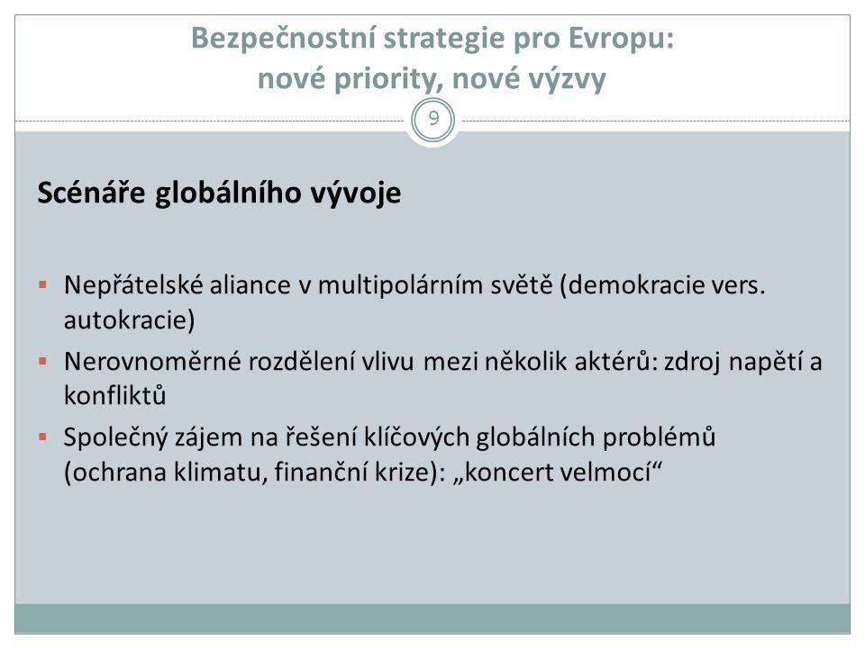 Bezpečnostní strategie pro Evropu: nové priority, nové výzvy Scénáře globálního vývoje  Nepřátelské aliance v multipolárním světě (demokracie vers.