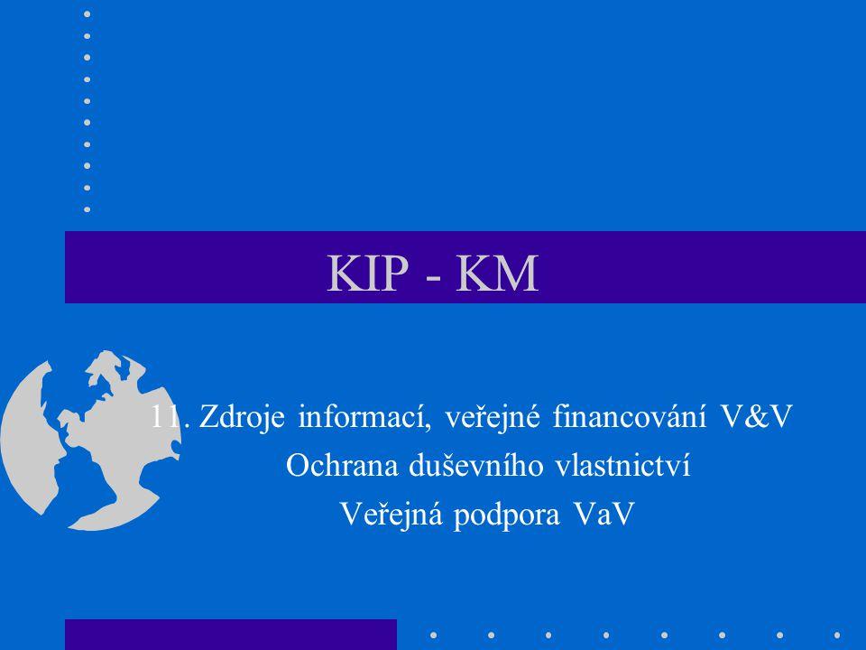 KIP - KM 11. Zdroje informací, veřejné financování V&V Ochrana duševního vlastnictví Veřejná podpora VaV