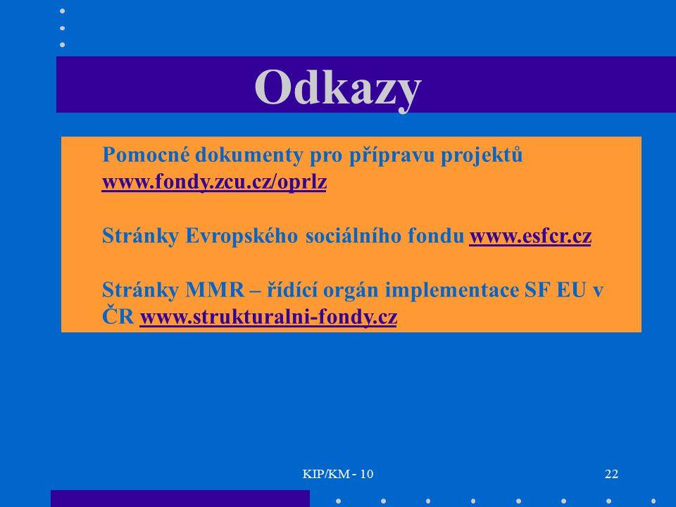KIP/KM - 1022 Odkazy Pomocné dokumenty pro přípravu projektů www.fondy.zcu.cz/oprlz www.fondy.zcu.cz/oprlz Stránky Evropského sociálního fondu www.esf