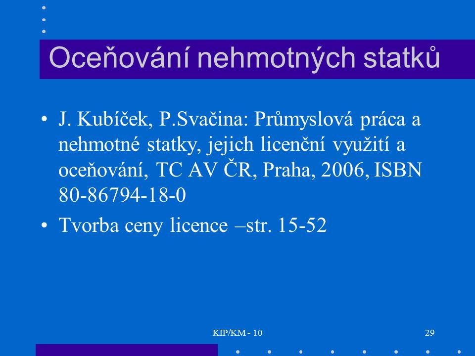 KIP/KM - 1029 Oceňování nehmotných statků J. Kubíček, P.Svačina: Průmyslová práca a nehmotné statky, jejich licenční využití a oceňování, TC AV ČR, Pr