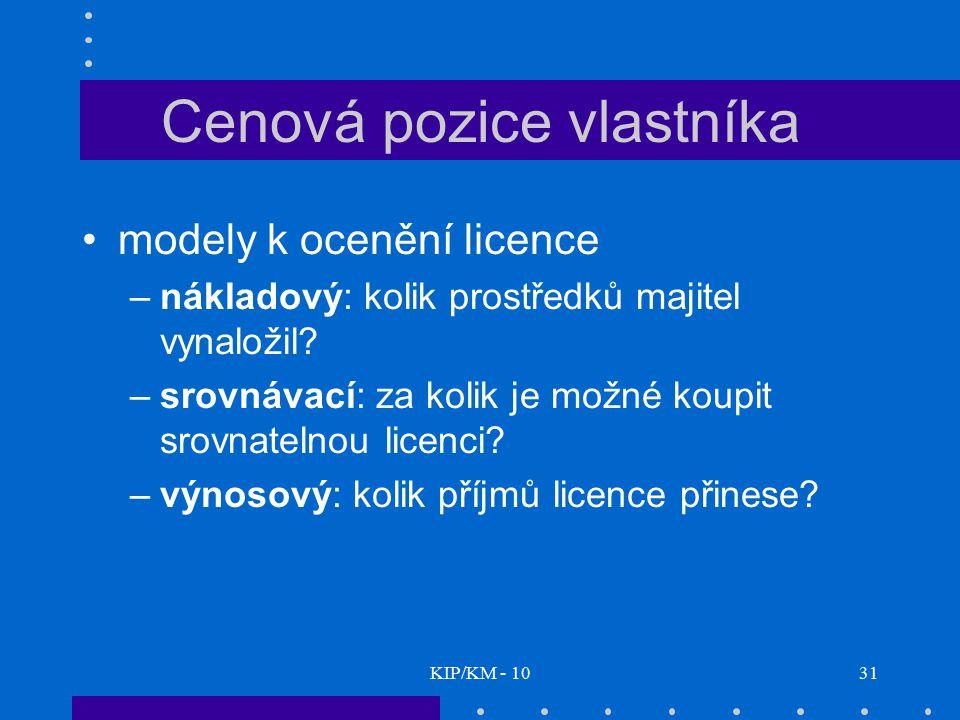 KIP/KM - 1031 Cenová pozice vlastníka modely k ocenění licence –nákladový: kolik prostředků majitel vynaložil? –srovnávací: za kolik je možné koupit s