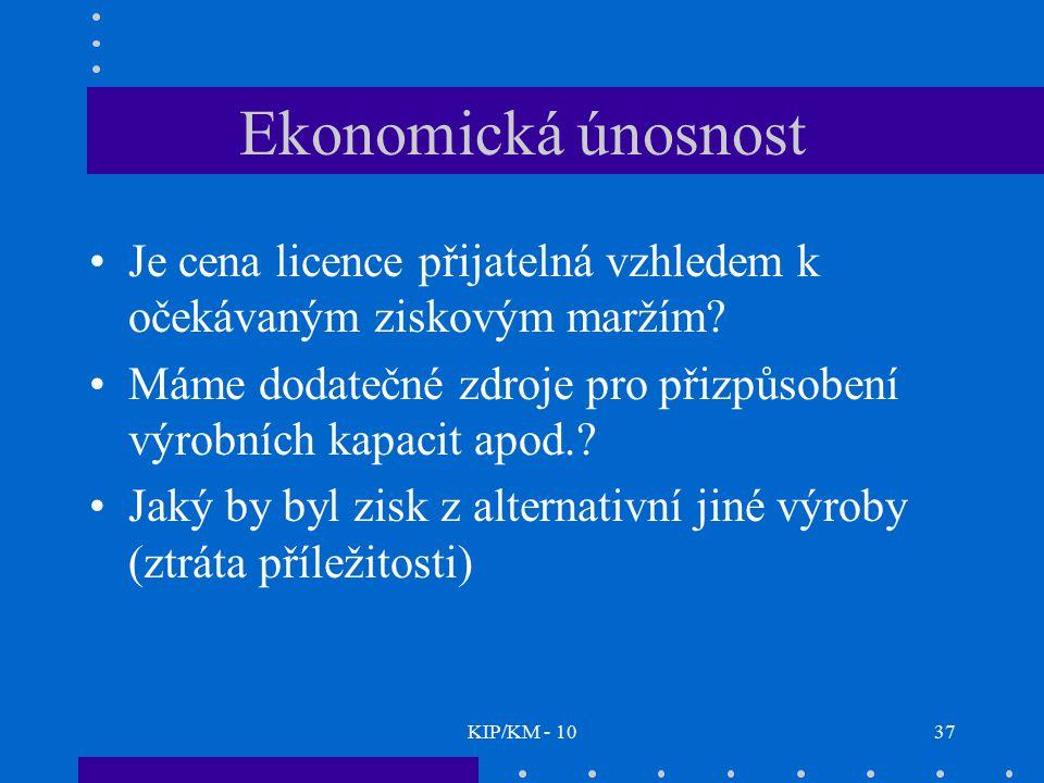 KIP/KM - 1037 Ekonomická únosnost Je cena licence přijatelná vzhledem k očekávaným ziskovým maržím? Máme dodatečné zdroje pro přizpůsobení výrobních k