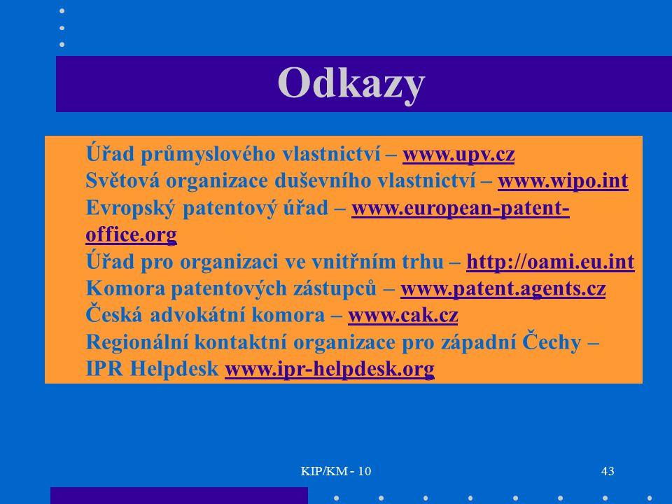 KIP/KM - 1043 Odkazy Úřad průmyslového vlastnictví – www.upv.czwww.upv.cz Světová organizace duševního vlastnictví – www.wipo.intwww.wipo.int Evropský