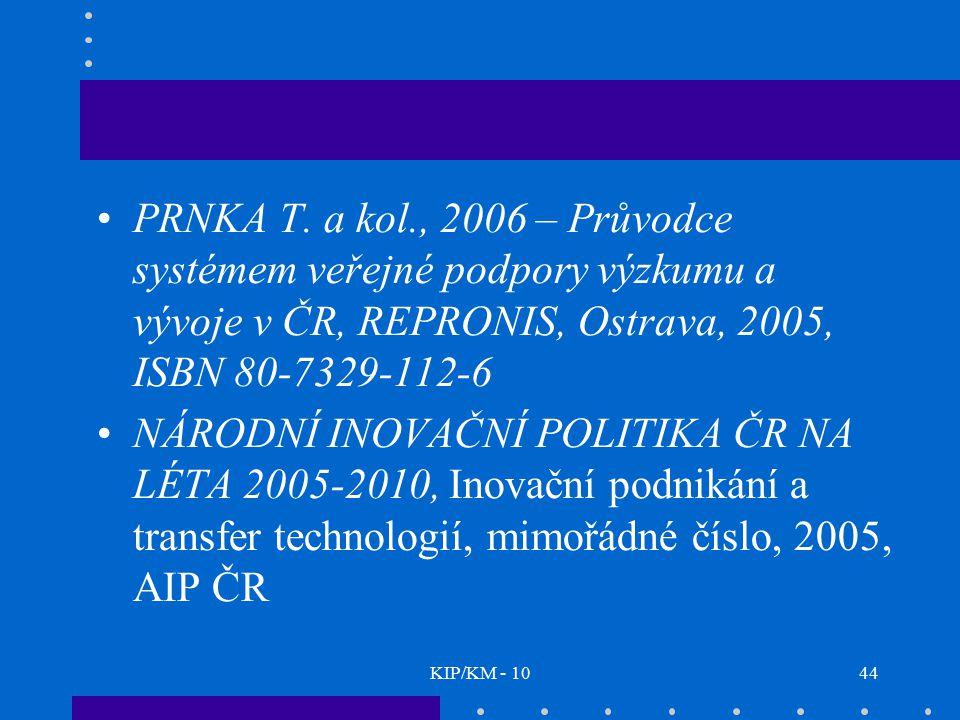 KIP/KM - 1044 PRNKA T. a kol., 2006 – Průvodce systémem veřejné podpory výzkumu a vývoje v ČR, REPRONIS, Ostrava, 2005, ISBN 80-7329-112-6 NÁRODNÍ INO