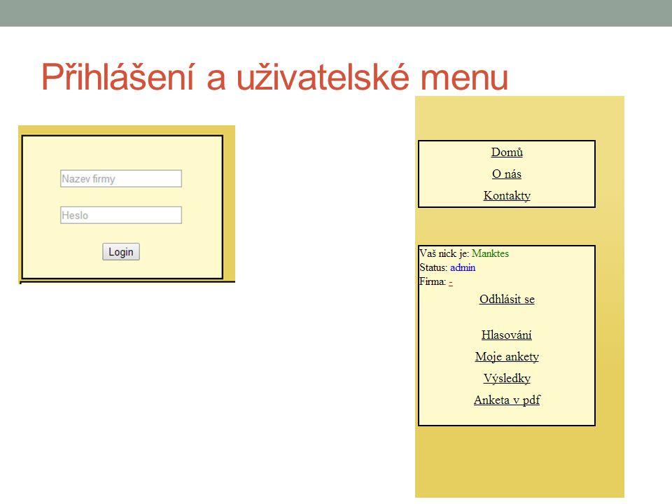 Přihlášení a uživatelské menu
