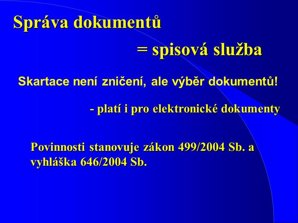Správa dokumentů Skartace není zničení, ale výběr dokumentů.